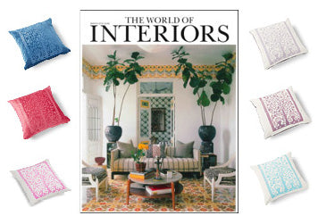 World of Interiors featuring Anita Bowerman's Paradise Velvet Cushions