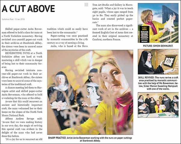 Yorkshire Post Article about Anita Bowerman teaching art of paper cutting to Stanbrook Abbey nuns