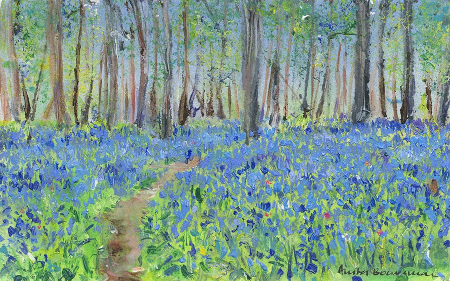 Bluebell Wood Pathway (Original Painting, Framed)