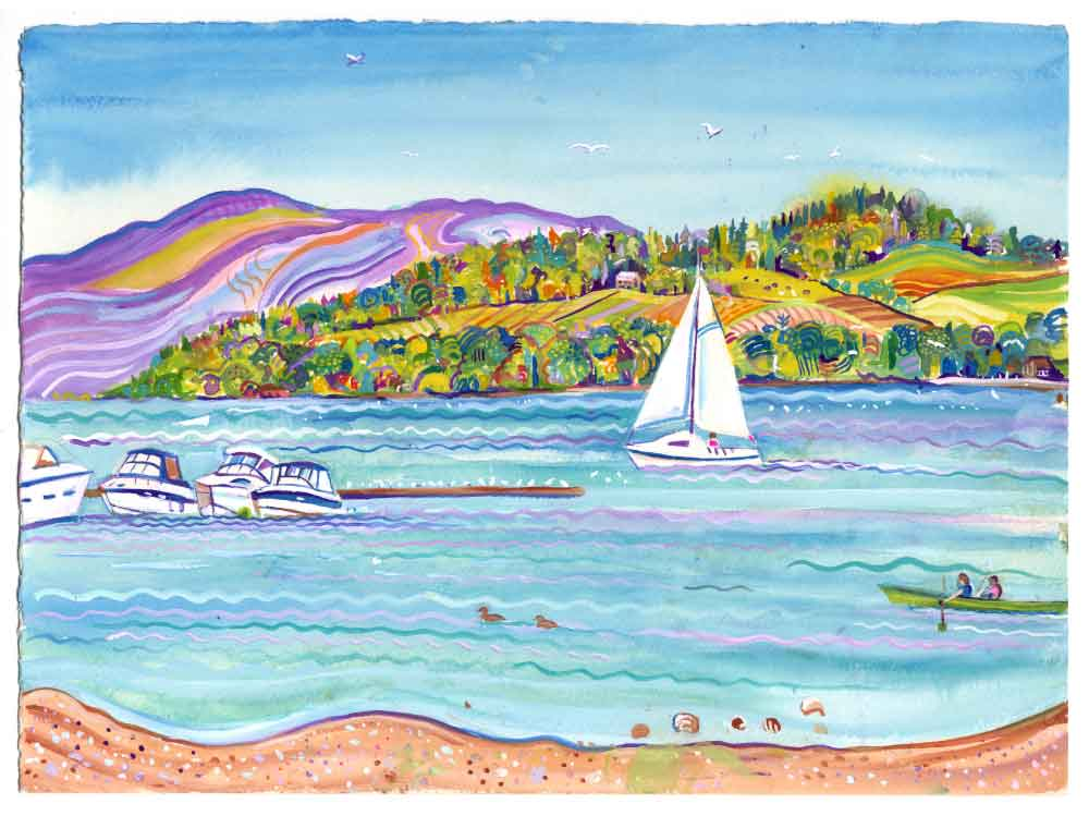 I saw a yacht sail by, unframed original painting