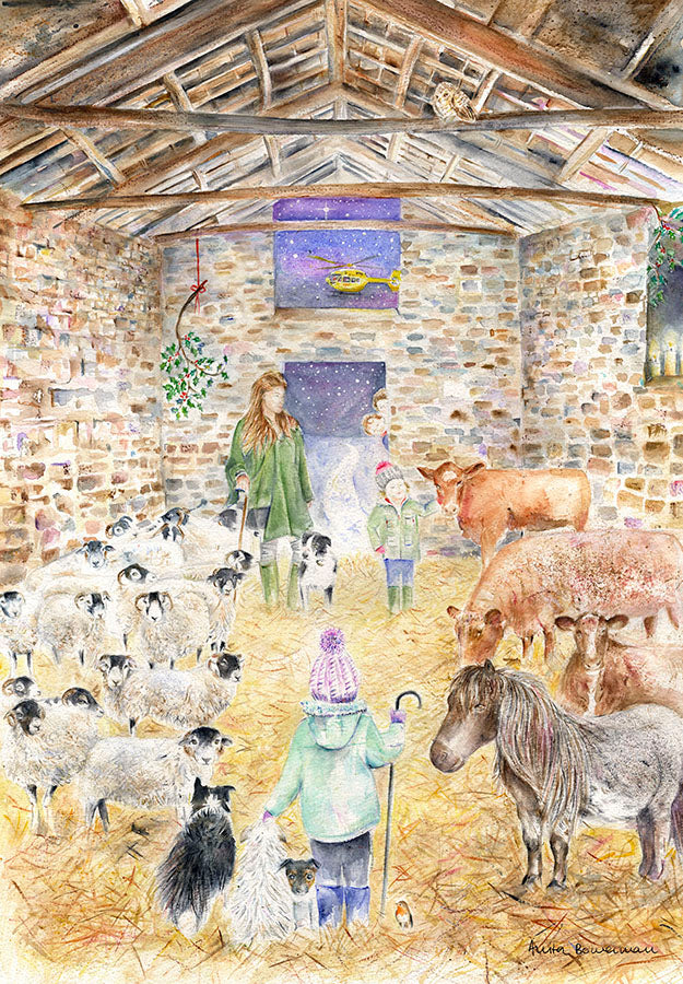 Amanda Owen The Yorkshire Shepherdess in an Ancient Barn at Ravenseat - With Helicopter (Limited Edition Giclée Print)