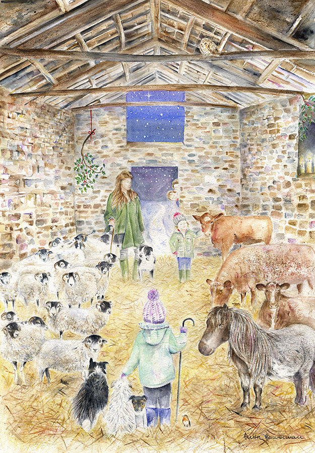 Amanda Owen The Yorkshire Shepherdess in an Ancient Barn at Ravenseat - No Helicopter (Limited Edition Giclée Print)