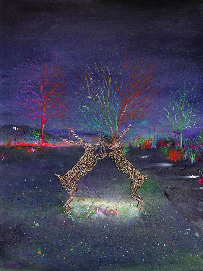 Boxing Hares at Glow, RHS Garden Harlow Carr (Limited Edition Giclée Print)