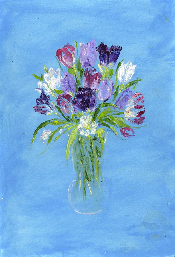 A Bouquet of Tulips (Original Painting, Unframed)