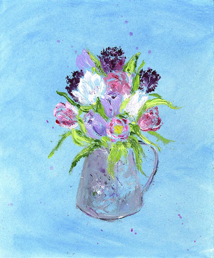 A Jug of Delicate Tulip Flowers (Original Painting, Unframed)