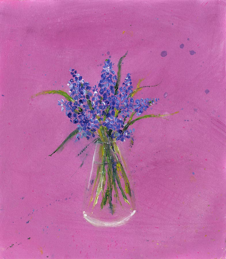 Blue Muscari Flower Vase (Original Painting, Unframed)