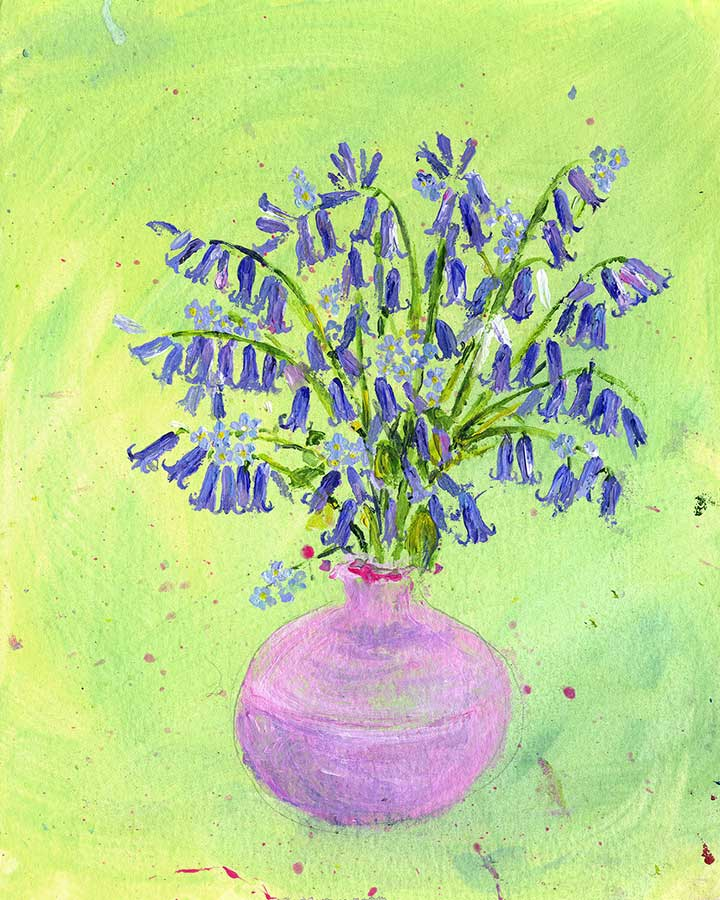 Bluebells and Forget-me-not Flowers (Original Painting, Unframed)