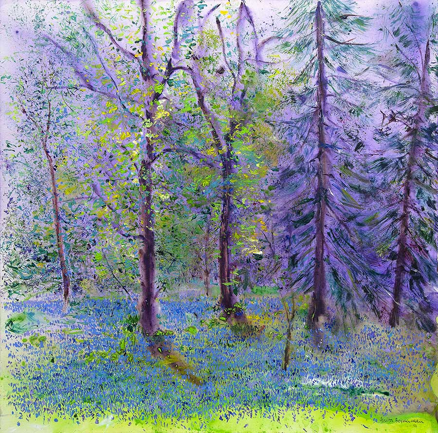 Ethereal Bluebell Wood (Original Painting, Unframed)