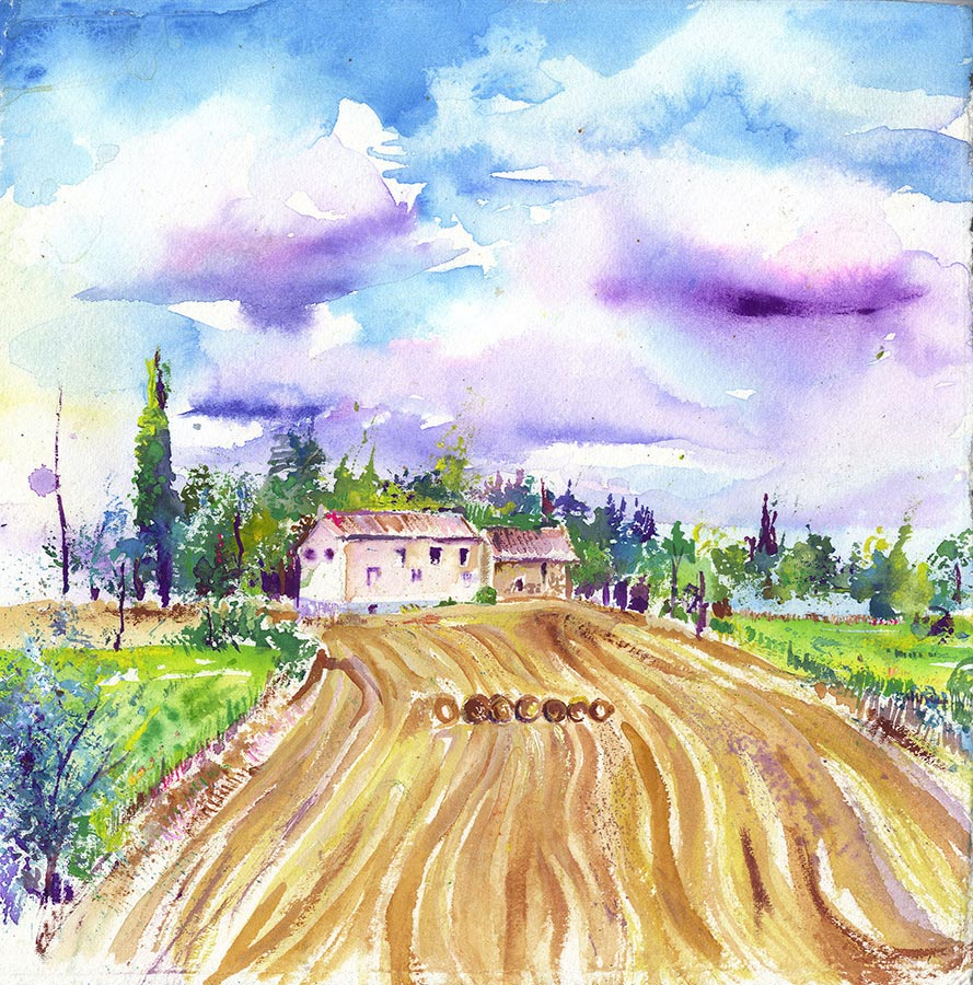 French Farmhouse (Original Painting, Unframed)