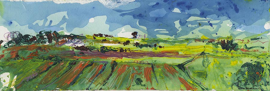 Green Green Yorkshire Countryside (Original Painting, Unframed)