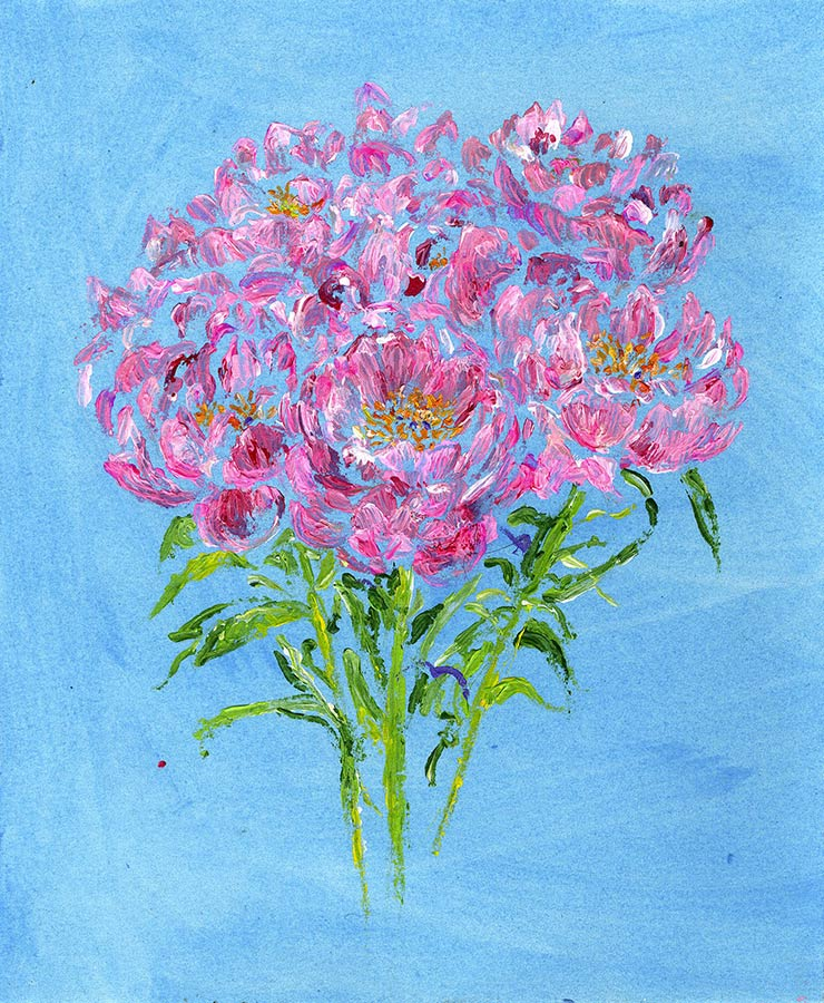 Peony Bouquet of Flowers (Original Painting, Unframed)