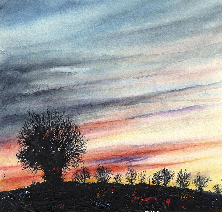 Silhouette of Trees Against a Sunset (Original Painting, Unframed)