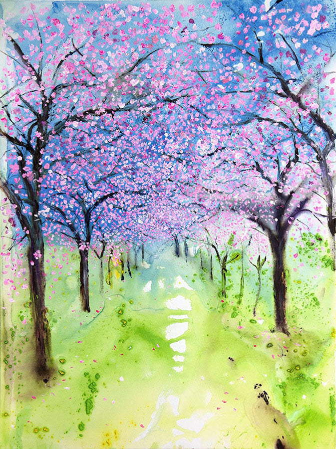 Spring Cherry Blossom Archway in Harrogate (Original Painting, Unframed)