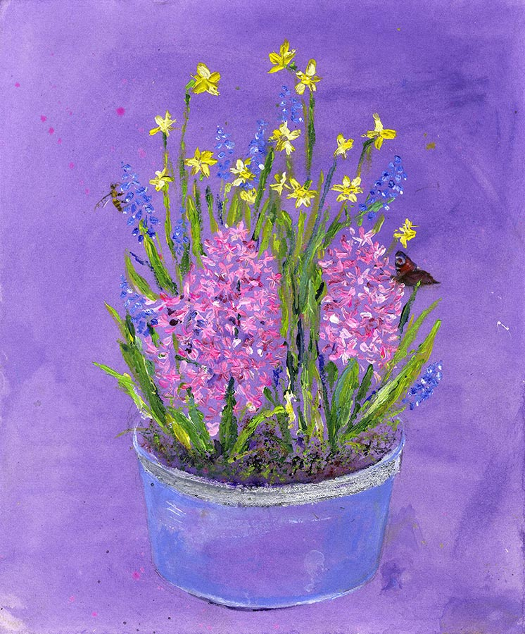 Spring Flower Bowl (Original Painting, Unframed)