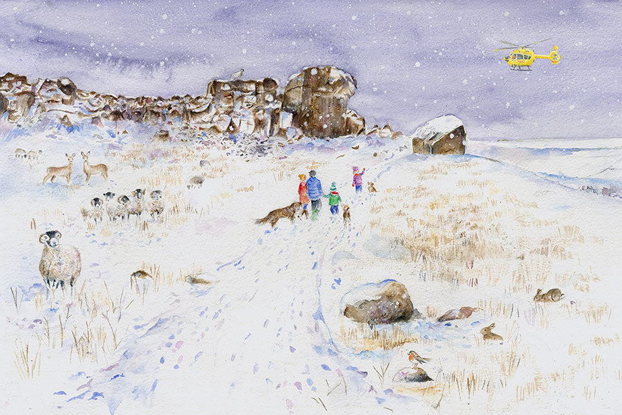 On Ilkley Moor with hats at the Cow and Calf Rocks - With Helicopter (Limited Edition Giclée Print)