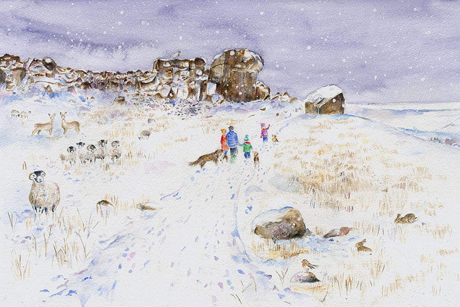 On Ilkley Moor with hats at the Cow and Calf Rocks (Original Painting, Unframed)