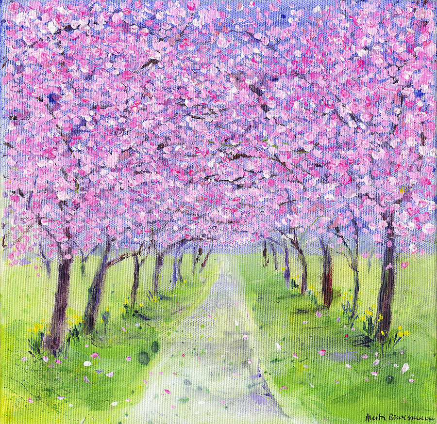 Pales Pink Hues of Cherry Blossom (Original Painting, Framed)