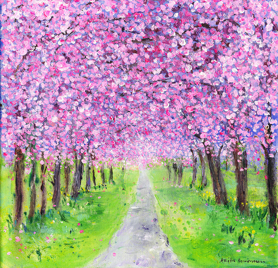 Pink Pink Cherry Blossom Tree Canopy (Original Painting, Framed)