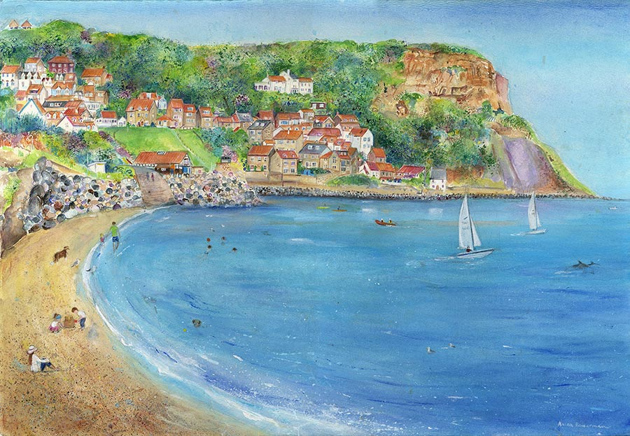 Sunny Runswick Bay, Yorkshire (Limited Edition Giclée Print)