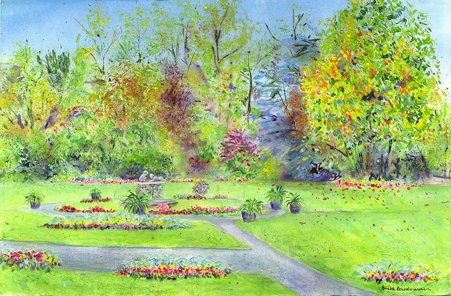Water Babies in The Valley Gardens, Harrogate (Original Painting, Unframed)