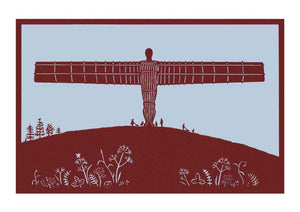 Angel of the North paper cut in burgundy, unframed Giclée limited edition print
