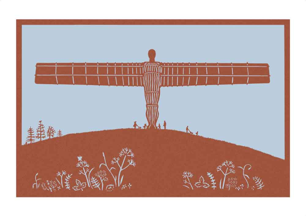 Angel of the North paper cut in rust, unframed Giclée limited edition print