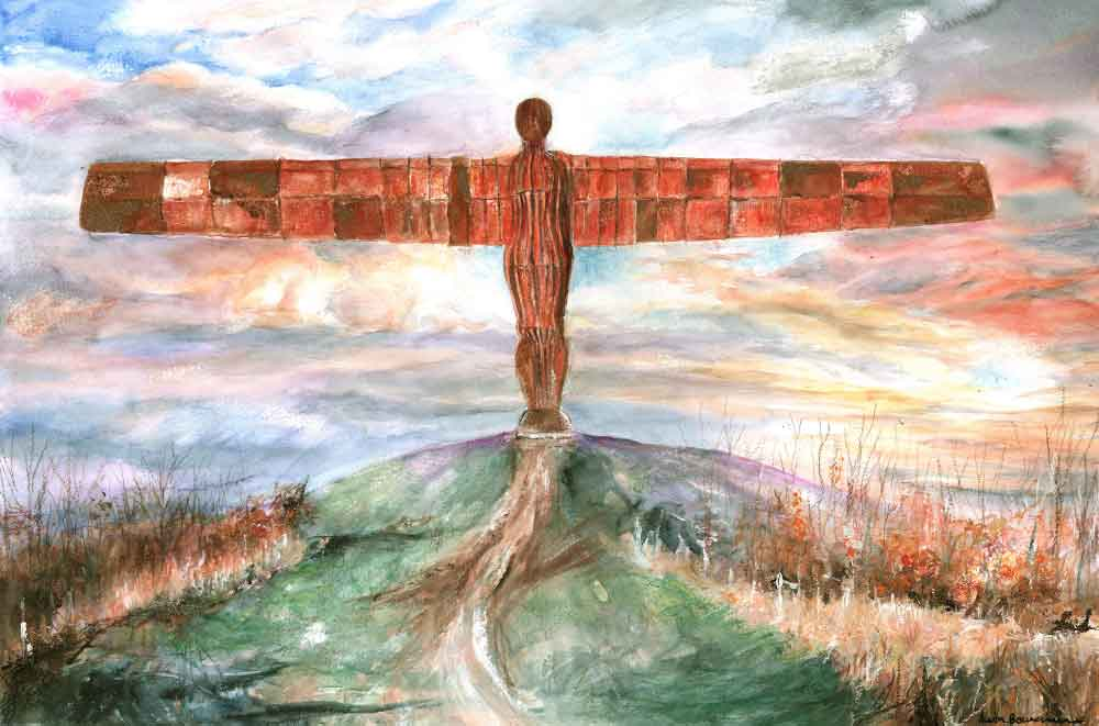 Angel of the North, unframed original painting