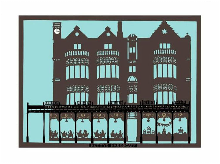 Bettys Harrogate, unframed original paper cut