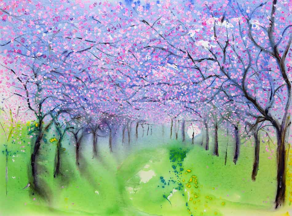 Blue Sky and Cherry Blossoms, unframed original painting