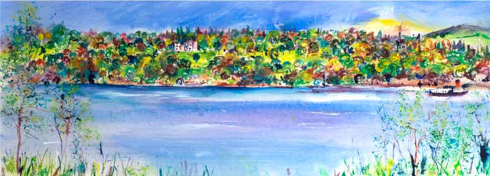 Castle by the Lake, unframed original painting
