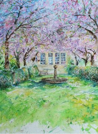 Cherry Blossom Archway at Hazlewood Castle, unframed Giclée limited edition print