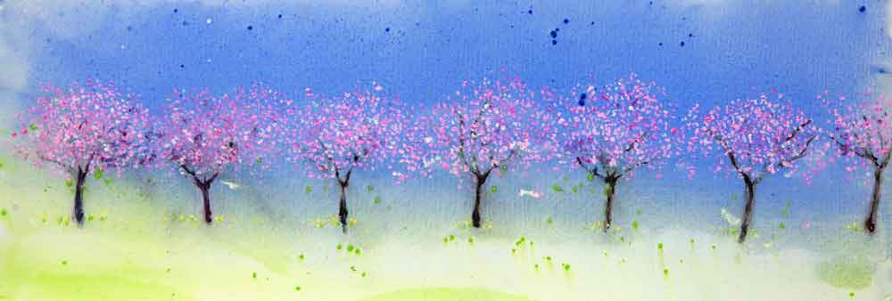 Cherry Tree Promenade, unframed original painting