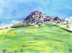 Contemporary Almscliffe Crag, unframed original painting