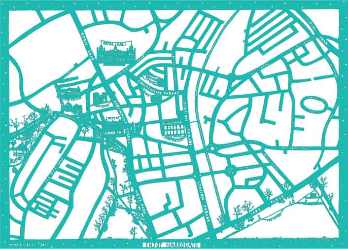 Enjoy Harrogate Map in turquoise and white, unframed open edition Giclée print