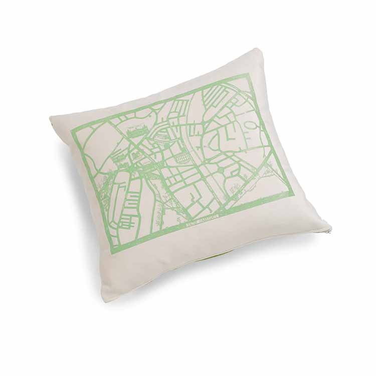 Enjoy Harrogate Velvet Cushion 46 x 46cm beige with green print
