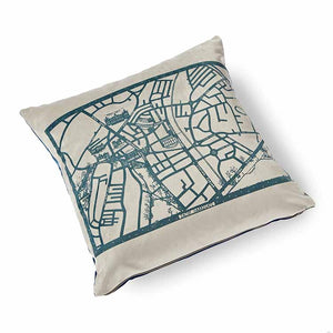 Enjoy Harrogate Velvet Cushion 46 x 46cm pale grey with navy print