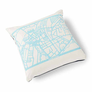 Enjoy Harrogate Velvet Cushion 46 x 46cm white with turquoise print