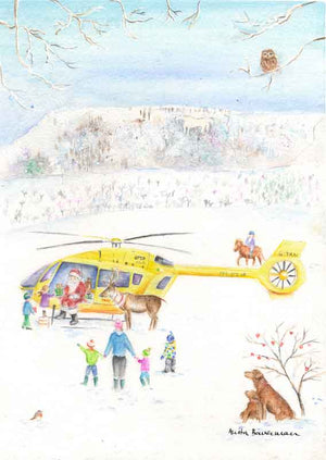 Father Christmas Giving Presents From a Helicopter Near the Kilburn White Horse, Giclée print