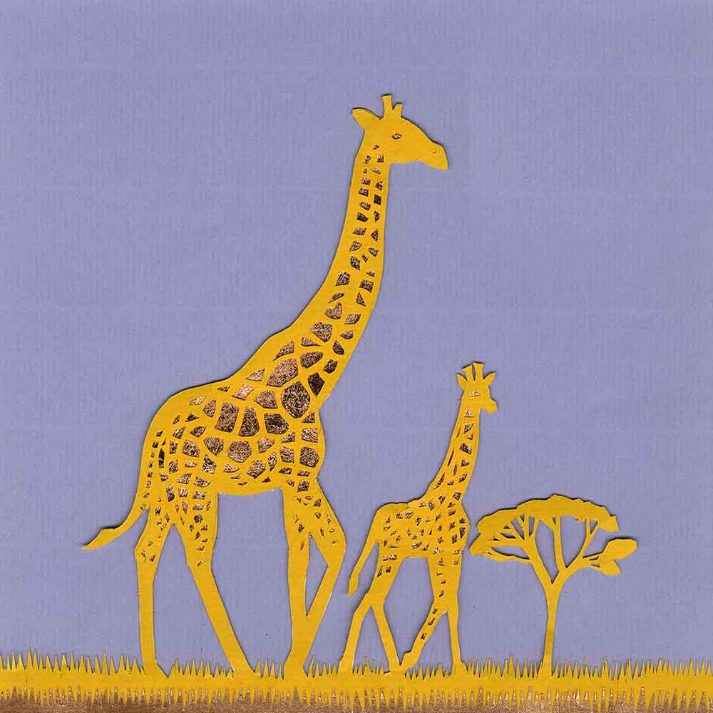 Giraffe with Calf, unframed original paper cut