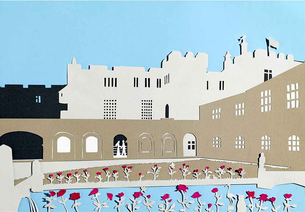 Hazlewood Castle, unframed original paper cut