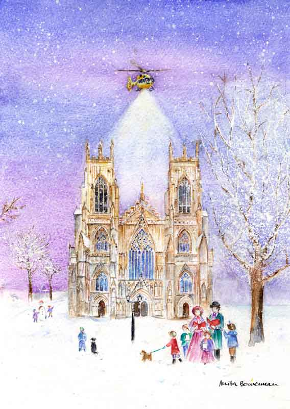 Helicopter Illuminating York Minster in the Snow, unframed limited edition print