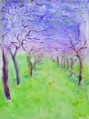 Host of Golden Daffodils and Cherry Blossom, unframed original painting