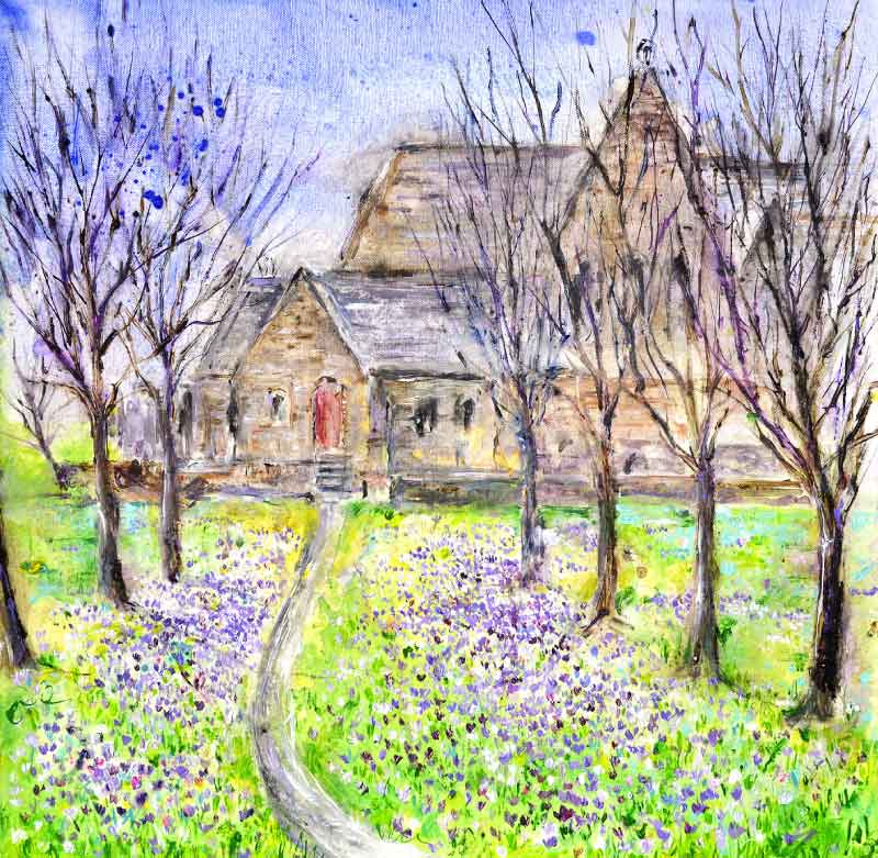 Impressionist Crocuses and Church in Spring, unframed painting