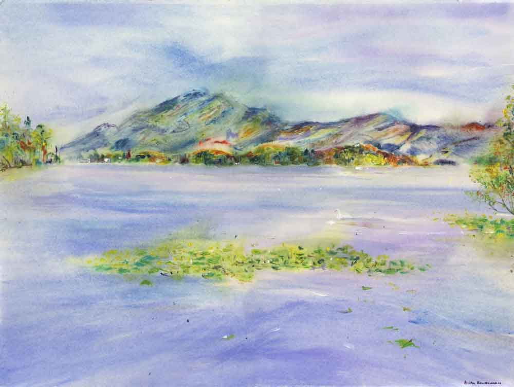 Lakeside Pastel Hues, unframed original painting