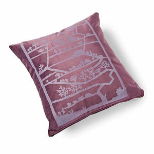 Love Yorkshire Velvet Cushion 46 x 46cm purple with pink print