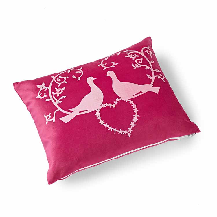 Lovey Dovey Velvet Cushion 41 x 33cm raspberry pink with white print