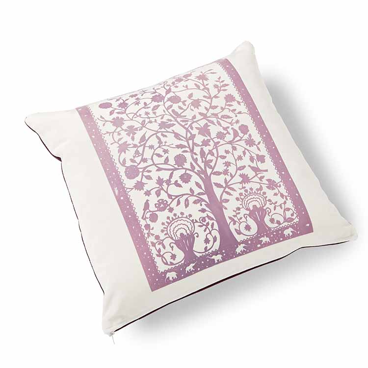 Paradise Velvet Cushion 46 x 46cm white with plum print