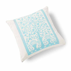 Paradise Velvet Cushion 46 x 46cm white with turquoise print