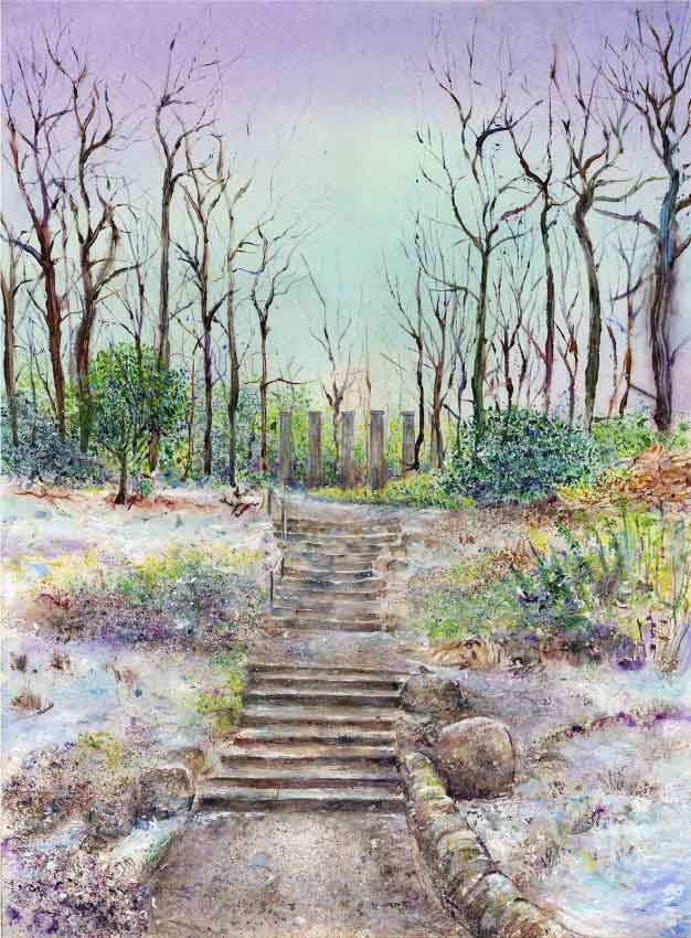Pathway to the Doric Columns at RHS Garden Harlow Carr, January (print)