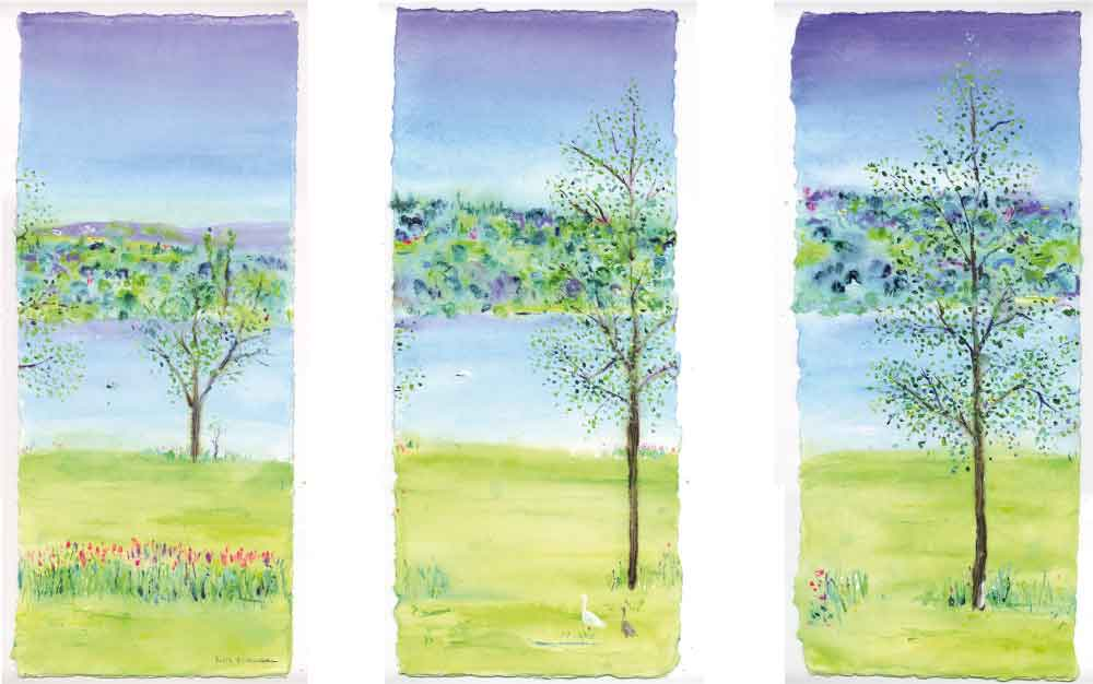 Peace and Tranquillity, unframed triptych original painting